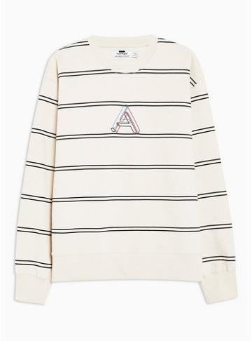 Topman Mens Off White And Black Embroidered Stripe Sweatshirt
