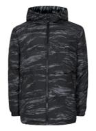 Topman Mens Multi Black And Grey Printed Hooded Puffer Jacket
