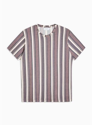 Topman Mens Red Burg Stripe Knit T-shirt
