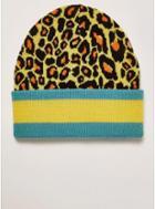 Topman Mens Multi Leopard Print Stripe Skater Beanie