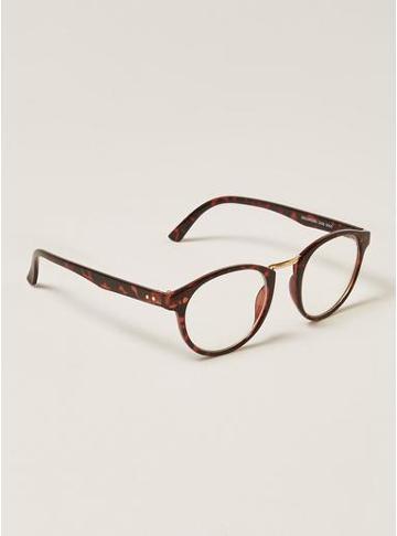 Topman Mens Brown Tortoiseshell Reader Glasses