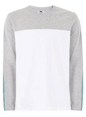 Topman Mens Grey Gray Skater Taping T-shirt