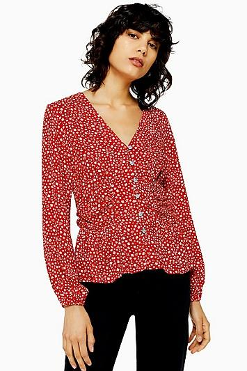 Topshop Long Sleeved Side Ruched Blouse