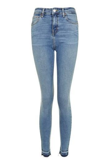 Topshop Moto Mid Blue Let Hem Jamie Jeans
