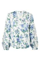 Topshop Floral Balloon Sleeve Blouse