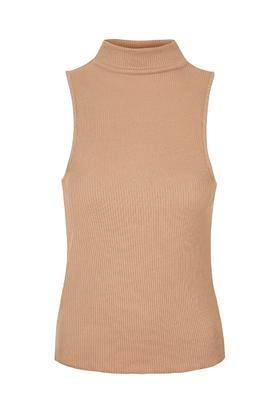 Topshop Tall High Neck Ribbed Funnel Neck Top