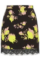 Topshop Flower Print Mini Skirt