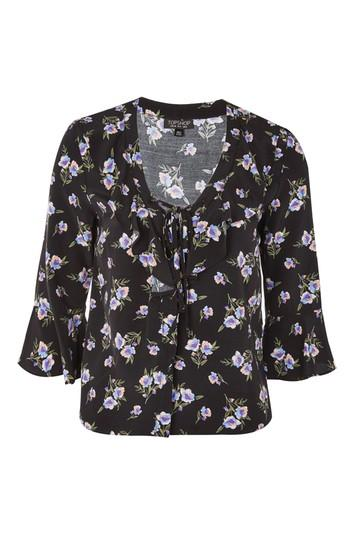 Topshop Floral Lattice Blouse