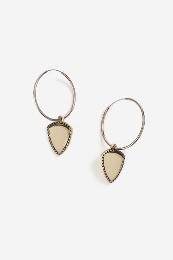 Topshop Shield Charm Drop Hoop Earrings
