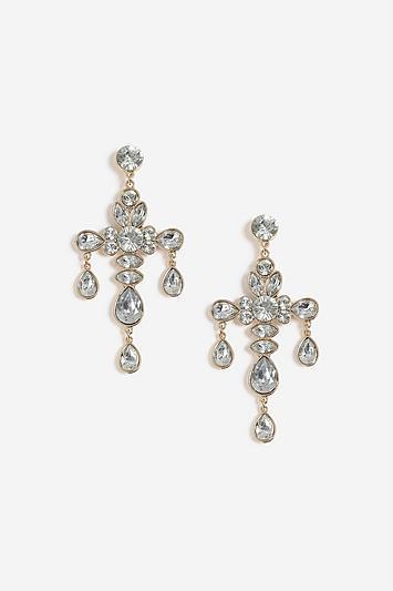 Topshop Crystal Cross Drop Earrings