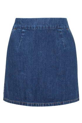 Topshop Moto Vintage Wash A-line Mini Skirt