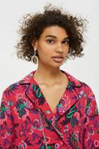 Topshop Floral Print Cropped Shirt