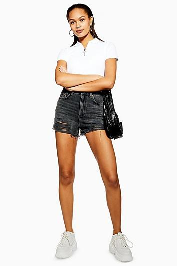 Topshop Petite Washed Black Ripped Mom Shorts