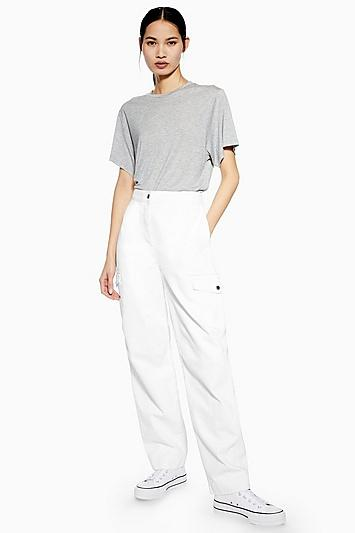 Topshop *white Utility Jeans By Boutique