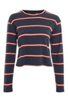 Topshop Tall Colour Striped Crew Neck Top