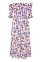 Topshop Petite Shirred Midi Bardot Dress