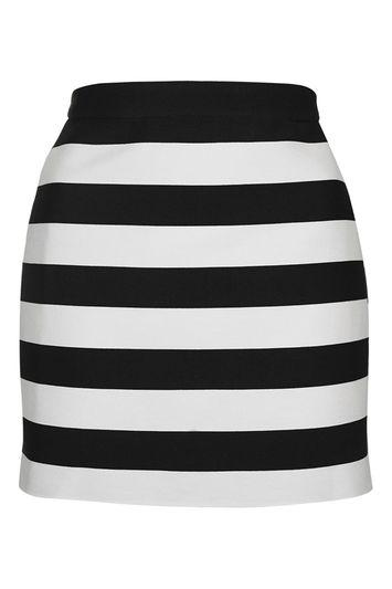 Topshop Petite Striped A-line Mini Skirt