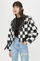 Topshop Checkerboard Leather Biker Jacket