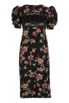 Topshop Sequin Floral Print Midi Shift Dress