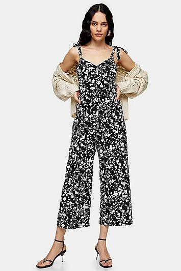 Topshop Black And White Floral Jumpsuit