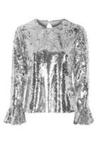 Topshop Flared Sequin Sleeve Top