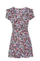Topshop Sky Floral Frill Wrap Tea Dress