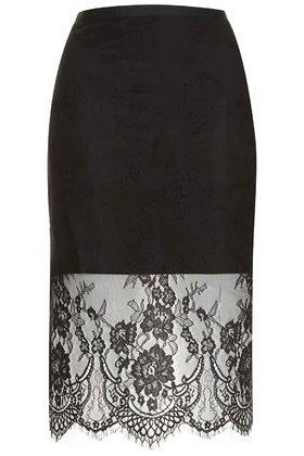 Topshop Soft Lace Pencil Skirt