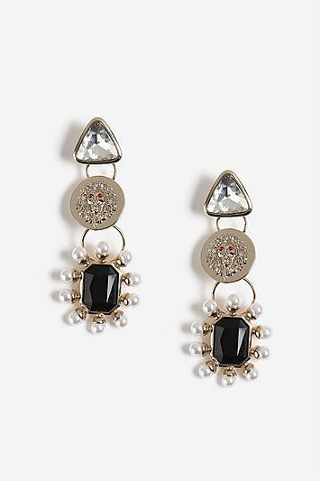 Topshop Lion Head Pearl Earrings