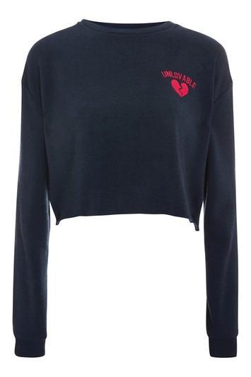 Topshop Unloveable Motif Sweatshirt
