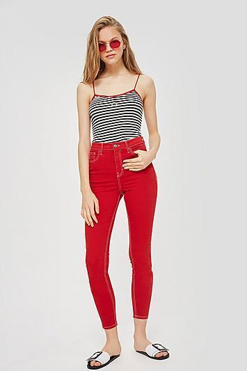 Topshop Petite Red Jamie Jeans