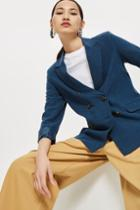 Topshop Double Breasted Linen Blazer