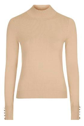 Topshop Button Cuff Funnel Neck Jumper
