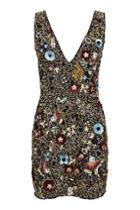 Topshop Bird Plunge Mini Dress