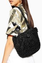 Topshop Fizzle Black Straw Tote Bag
