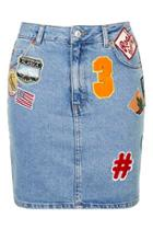 Topshop Petite Moto Badged Denim Mini Skirt