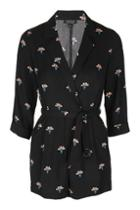 Topshop Wrap Front Printed Playsuit