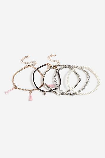 Topshop *tassel Bead Bracelet Multipack