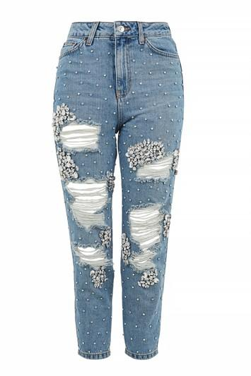 Topshop Moto Limited Edition Gemstone Super Rip Mom Jeans