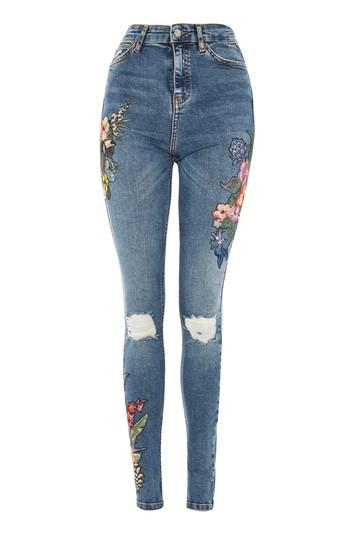 Topshop Tall Toucan Embroidery Jeans