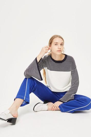 Topshop Ottoman Reverse Striped Sweater