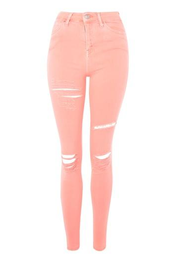 Topshop Moto Coral Super Ripped Jamie Jeans