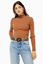 Topshop Camel Knitted Marl Funnel Neck Top