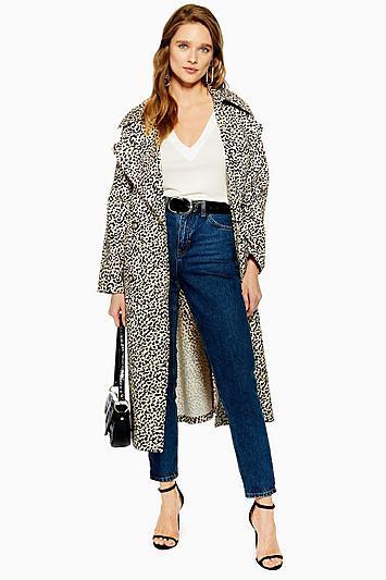 Topshop Leopard Print Trench Coat