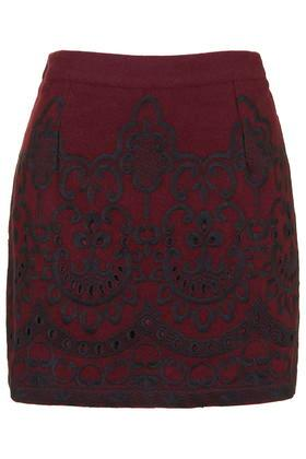 Topshop Embroidered Melton Mini Skirt