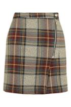 Topshop Belted Check A-line Skirt
