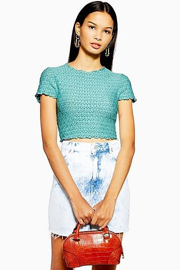Topshop Lace Shrunken T-shirt
