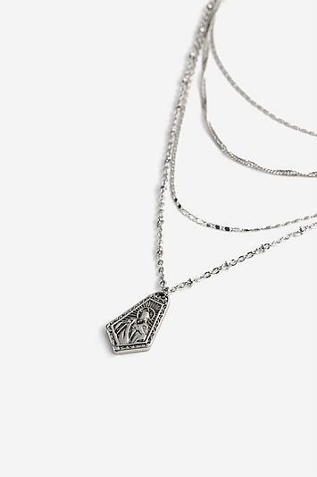 Topshop *pentagon Multi Row Necklace