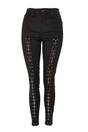 Topshop Moto Black Coated Lace Jamie Jeans