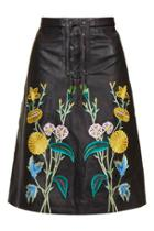 Topshop Embroidered Leather Midi Skirt