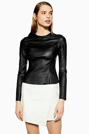 Topshop *leather Seam Top By Boutique